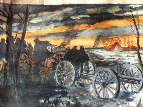 2Sombres aquarelles réalisées à l'armée par Maurice Grare en 1915