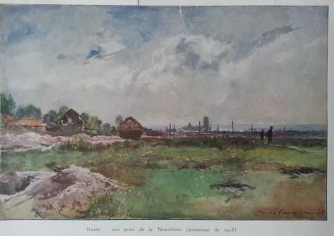 Une illustration  de Reims au printemps 1915 prise depuis La Neuvillette
