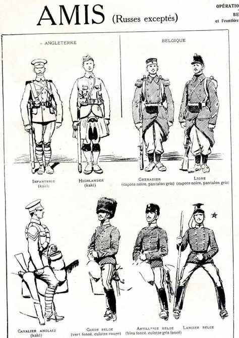 landier belge en bas à droite: coiffure noire, tunique foncée, culotte grise