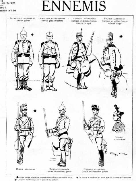 Aucune troupe allemande ne porte de pantalon ou culotte rouge. Le casque à crinière n'est porté que par la cavalerie française. A propos du dragon allemand: uniforme entièrement gris y compris la coiffure