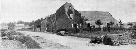 L'entrée du village de Haelen bombardé par les Allemands