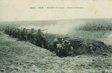 Les premières tranchées à la bataile de l'Aisne