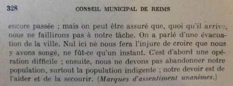 Octobre 1914: en réunion de conseil municipal Jean-Baptisite Langlet, maire, fait savoir clairement qu'il ne souhaite pas que les Rémois quittent la ville