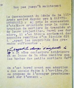 Extrait du rapport du général Jullien, commandant du Génie de la IIIe armées, sur l'utilisation de projectiles chargés en substance suffocante dite L.