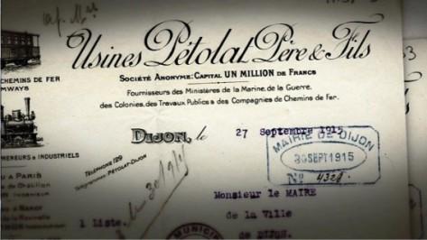 © Archives de la ville de Dijon Les usines Pétolat Père et Fils fabriquaient du matériel ferroviaire à Dijon. Pendant la première guerre mondiale elles ont produit des matériels spécialement conçus pour approvisionner le front au plus près.