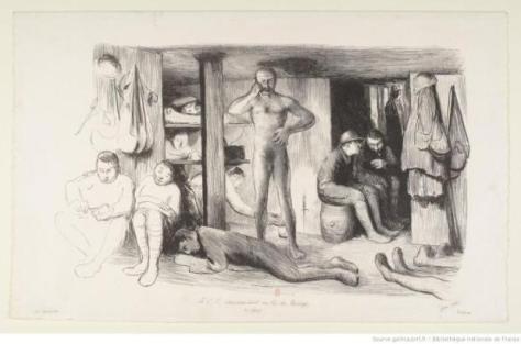 Un commandant tout nu au milieu de ses hommes dans un abri et donnant des instructions par téléphone comme si de rien n'était, voilà un dessin surprenant. Il est de Jean Veber et est étonnant pour la nudité d'un officier, apparition rarissime dans une représentation d'époque de la guerre 14-18.