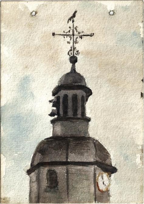 77-Léon-Manière-Sainte-Menehoulde-Clocher-de-léglise-rue-Florion-pris-de-ma-chambre.-Aquarelle-11-août-1916