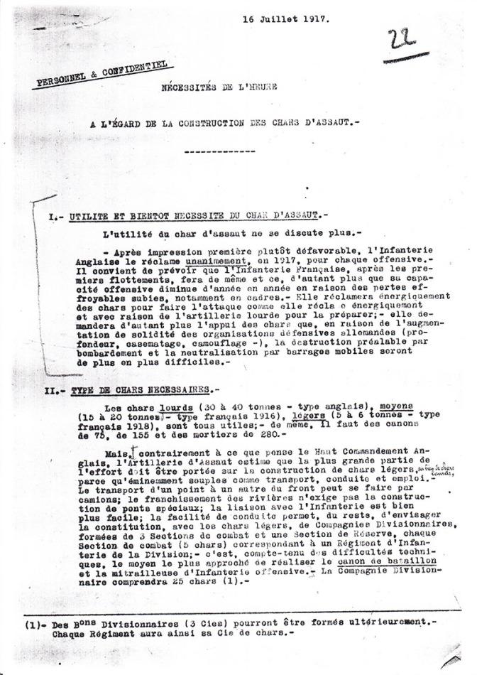 1078/16 juillet 1917: Il faut continuer à construire des chars
