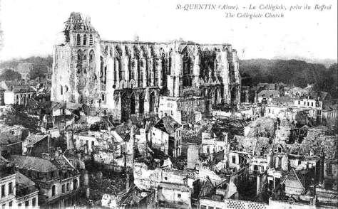 1109/16 aout 1917: incendie sur la charpente de la basilique de Saint-Quentin