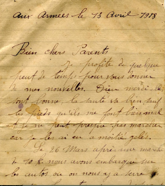 1349/13 avril 1918: « Bien chers parents… »j