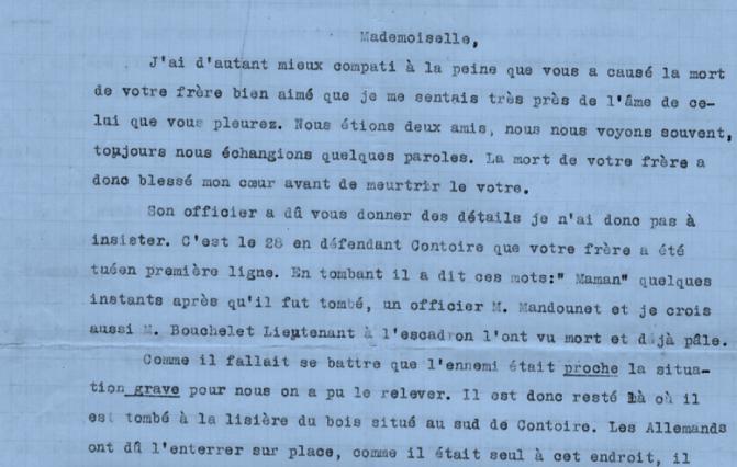 1358/22 avril 1918: en souvenir d'Alexis, la lettre émouvante d'un soldat à la soeur du défunt