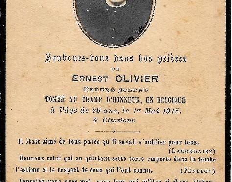 1367/1mai 1918: mort d'Ernest Olivier le 1er mai 1918 du 96e RI