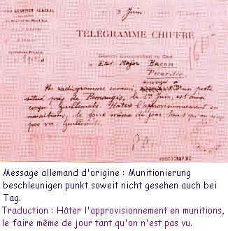 1399/2 juin 1918: le chiffre ADFGVX, de l'offensive allemande déchiffré
