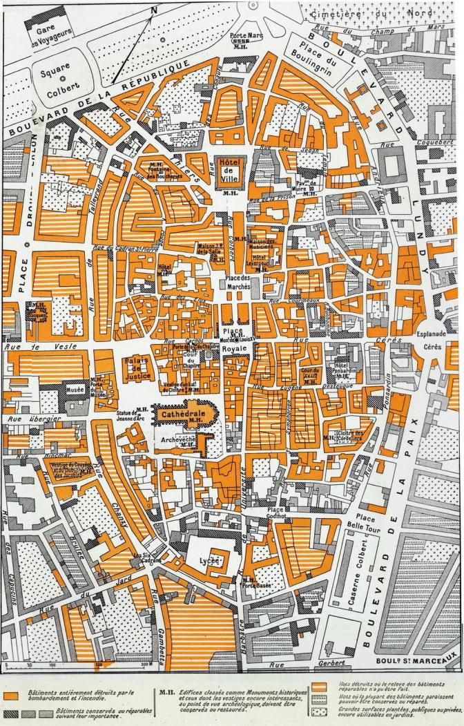 1521/1 octobre 1918: état du centre de Reims…